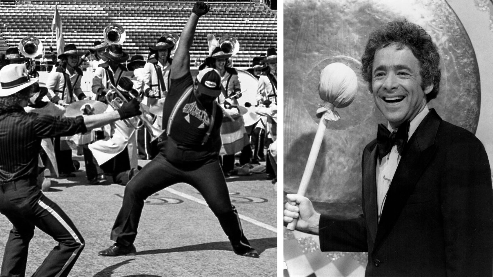 Banging the drum corps gong for Chuck Barris