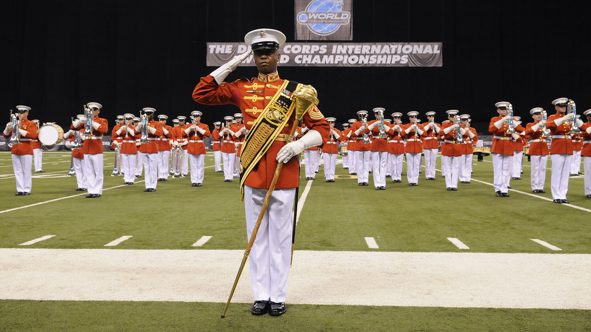The U.S. Marine Drum and Bugle Corps at the 2015 DCI Finals