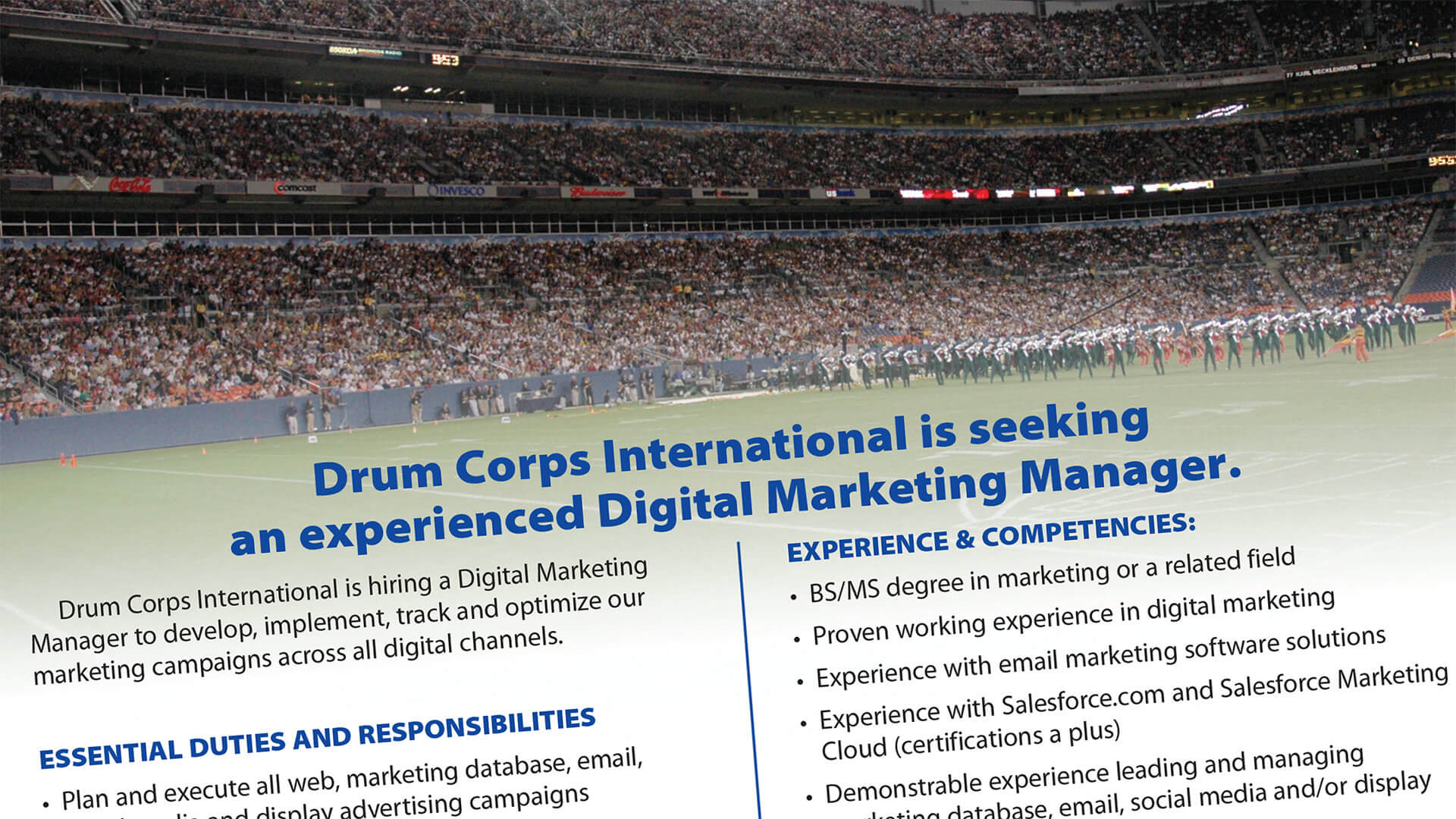 Drum Corps International employment opportunity